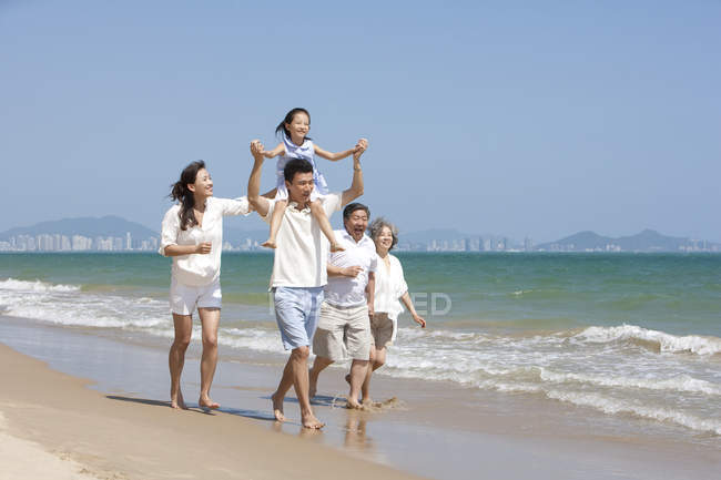 Important answer chinese girl on beach