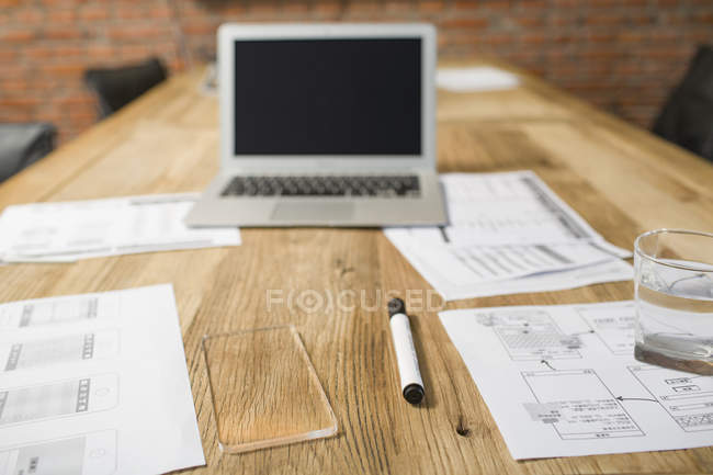 View of developing documents on office table — Stock Photo