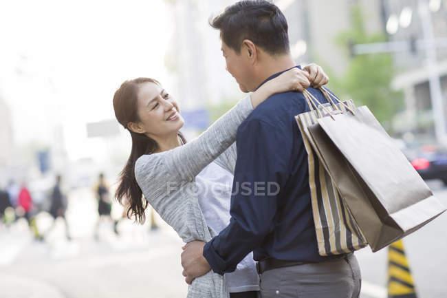 Mature adults shopping