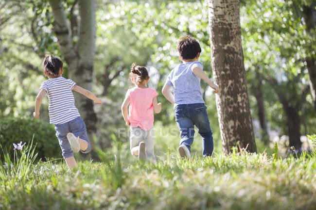 Chinese children racing in woods — Stock Photo