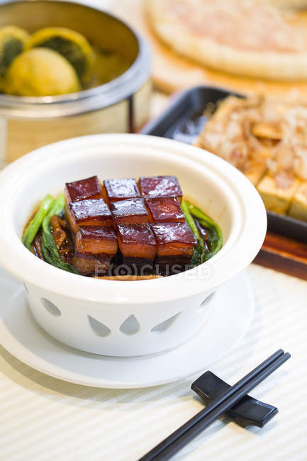 Chinese traditional dongpo pork meal — Stock Photo
