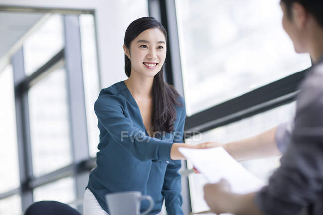 Chinese woman interviewing for job — Stock Photo