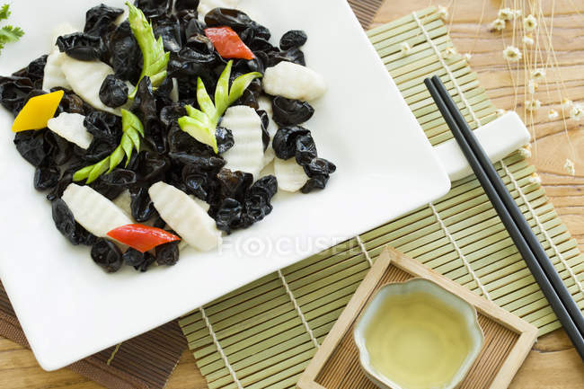 Chinese yam and mu-er meal on table — Stock Photo