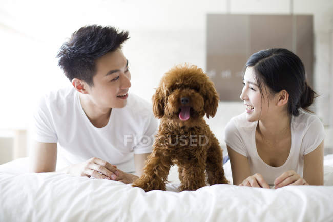 Chinese couple lying with pet poodle in bed — Stock Photo