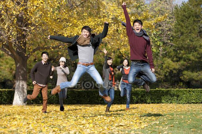 Chinês jovens adultos pulando no gramado no parque outonal — Fotografia de Stock