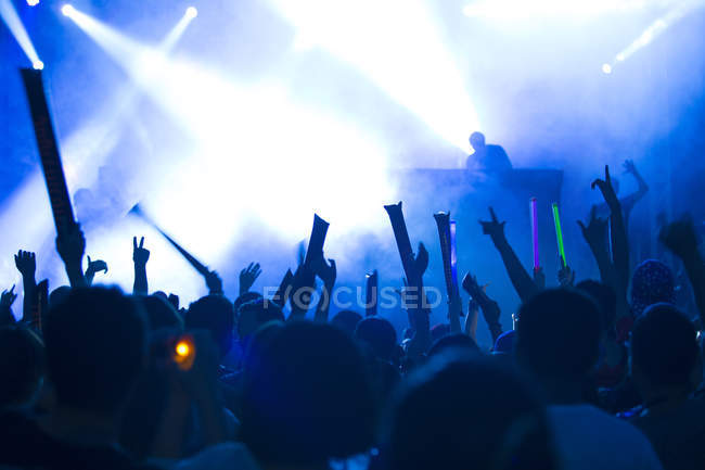 People with arms raised having fun at music festival — Stock Photo