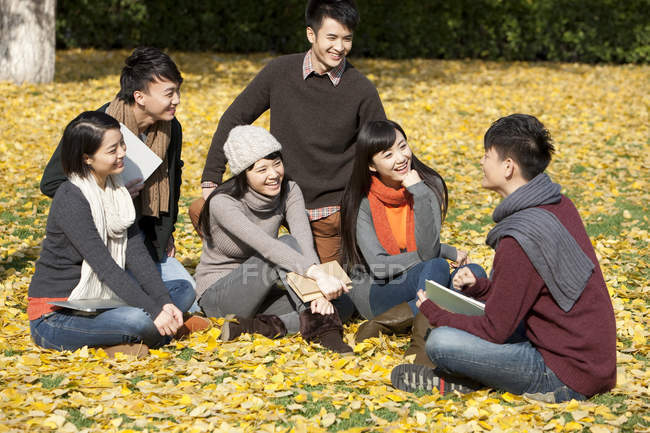 Chinese college students sitting with books and talking in autumnal park — Stock Photo