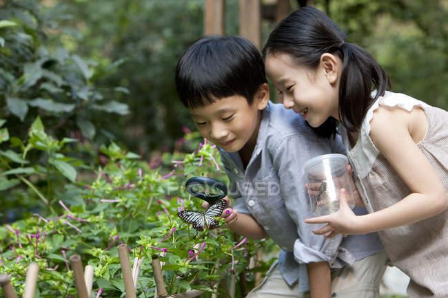 Китайские дети в саду смотрят на бабочку с лупой — стоковое фото