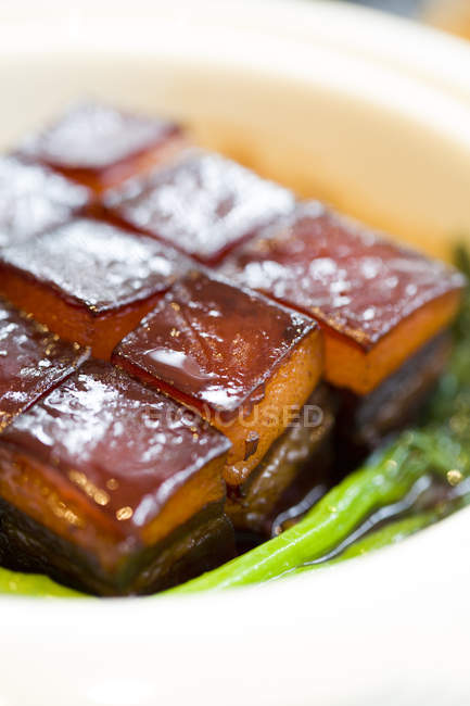 Traditional chinese dongpo meat dish, close-up — Stock Photo