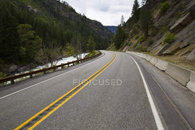 View of highway road through pine forest — Stock Photo
