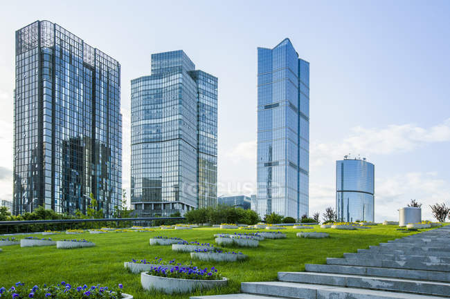 Modern buildings and green area in Beijing, China — Stock Photo
