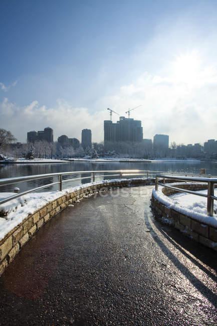 Засніжена в парку взимку в Пекіні, Китай — стокове фото