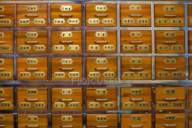 Traditional chinese medicine pharmacy drawers — Stock Photo