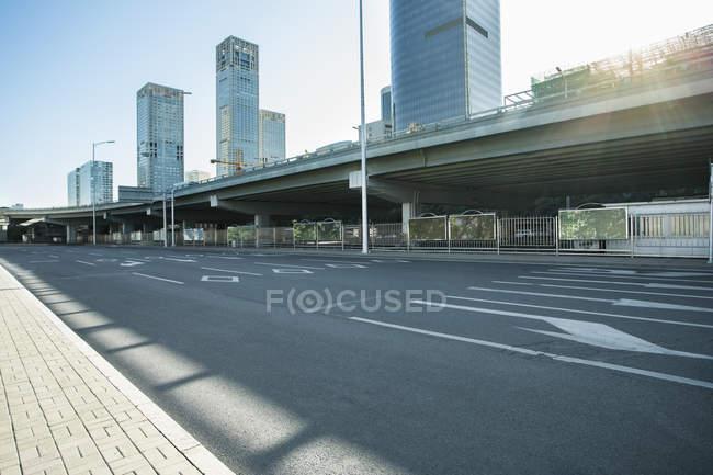 Urban scene of bridge and modern architecture of Beijing, China — Stock Photo