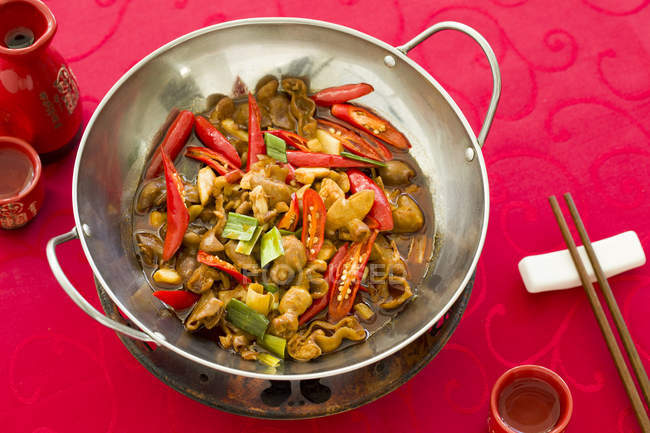 Traditional chinese griddle pork intestines dish — Stock Photo