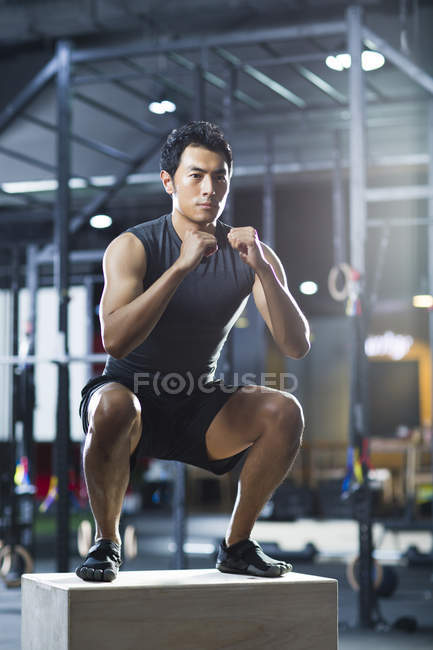 chinese man doing box jump in crossfit gym stock photo 183034588