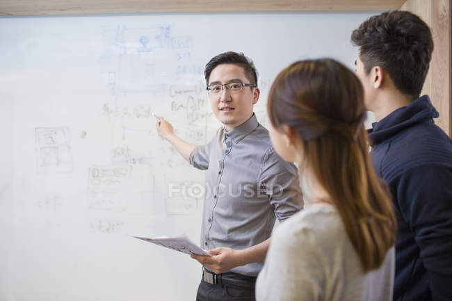 Chinese it workers having meeting in board room — Stock Photo