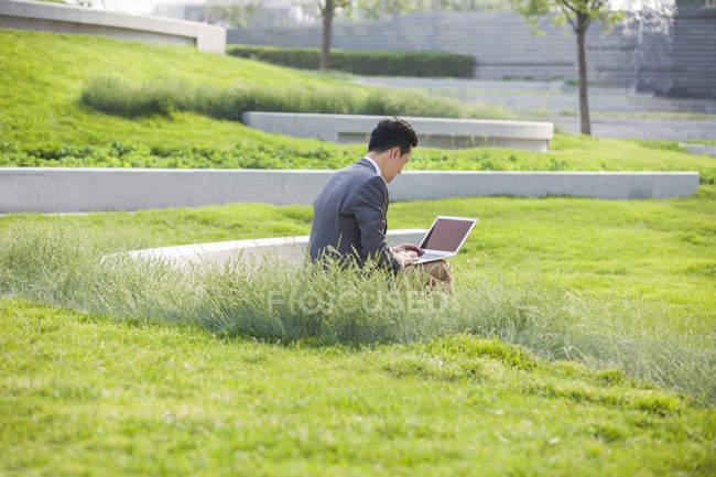 Empresário chinês usando laptop na área verde, visão traseira — Fotografia de Stock