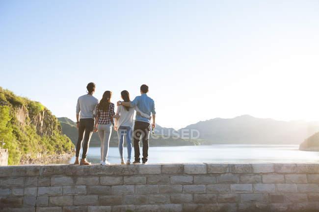 Vista posteriore di amici in piedi sul lungolago in periferia — Foto stock