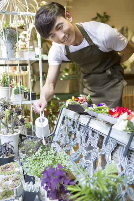 Китайська чоловічий флорист поливу рослин у квітковому магазині — стокове фото
