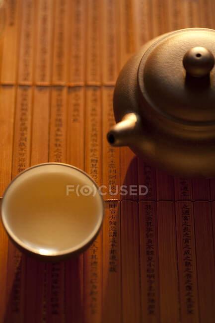 Чай у чашці й горщику на дерев