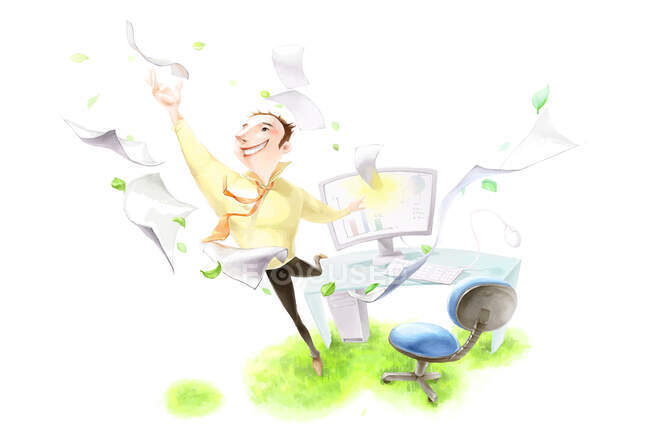Happy businessman by workplace with flying papers and green grass — Stock Photo
