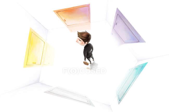Empresario confundido rodeado de diferentes puertas - foto de stock