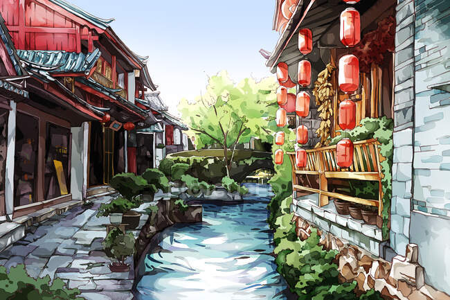Traditional chinese buildings with decorations and creek — Stock Photo