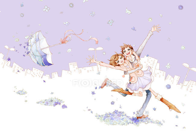 Romantic young couple dancing in falling flowers with umbrella — Stock Photo