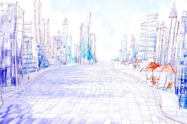 Calle de la ciudad con edificios modernos y cielo azul nublado - foto de stock