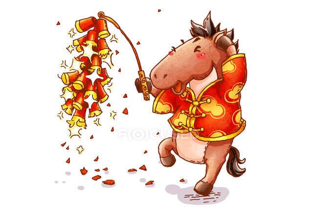 Cavalo bonito com fogos de artifício celebrando Ano Novo Chinês — Fotografia de Stock