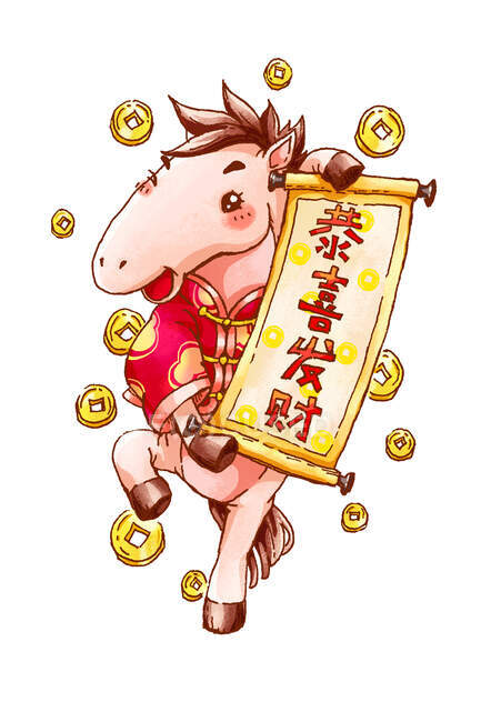 Cute horse with poster and coins celebrating Chinese New Year — Stock Photo