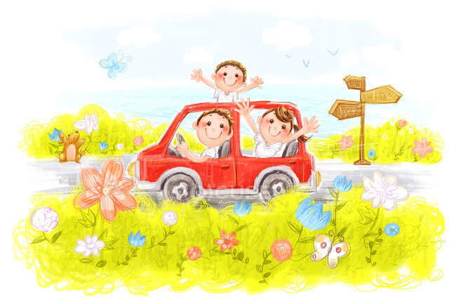 Happy Chinese family riding on red car — Stock Photo