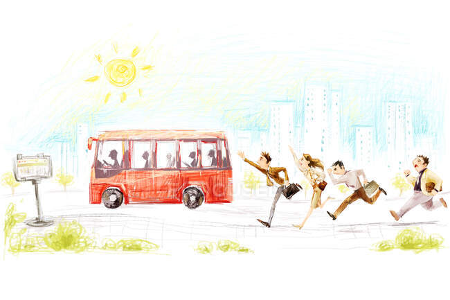 Cartoon people running after bus at sunny street — Stock Photo