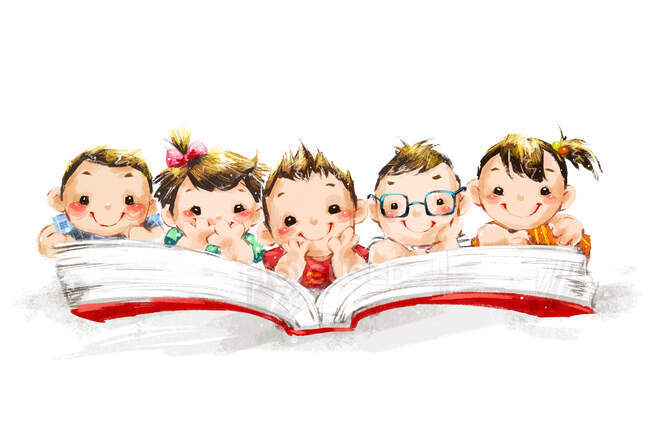 Five kids reading large book together — Stock Photo
