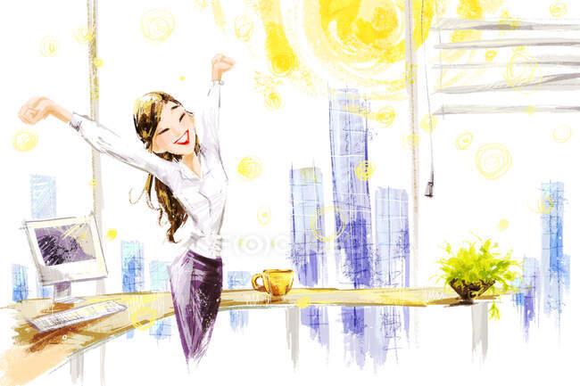 Dibujos animados sonriente mujer de negocios estirándose en la oficina - foto de stock