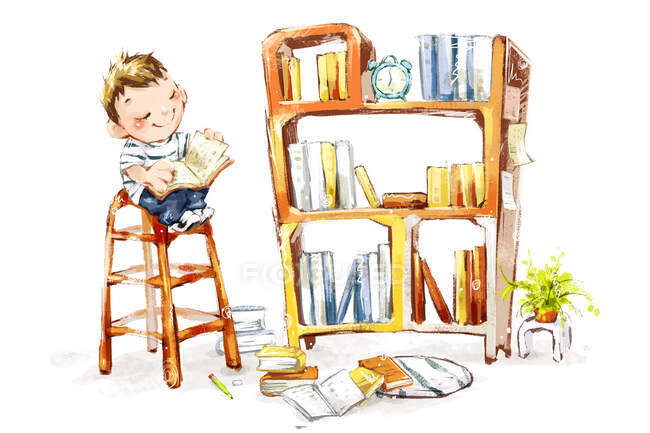 Cute boy reading book sitting on tall chair by shelf — Stock Photo