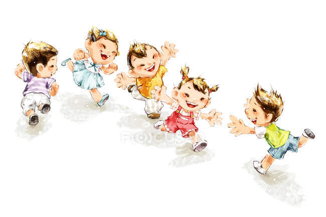 Kids running and smiling isolated on white background — Stock Photo