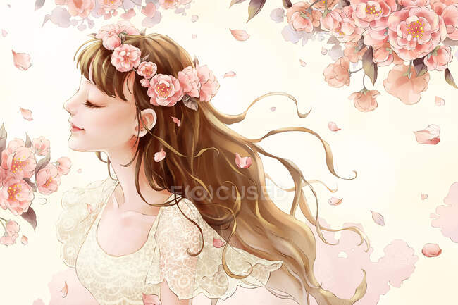 Beautiful girl with floral crown, blooming sakura flowers and petals — Stock Photo
