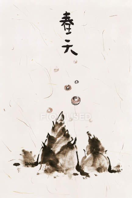 Chinese painting of spring, hyeroglyphs and plants — Stock Photo