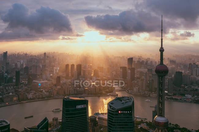 Shanghai skyline and buildings at sunrise — Stock Photo