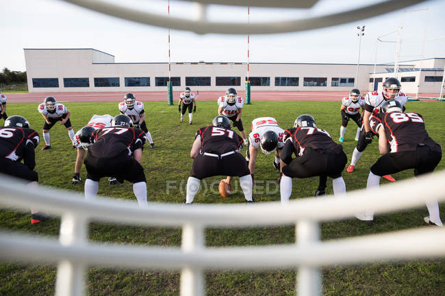 View from helmet on football game — Stock Photo