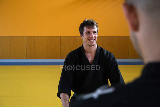 Smiling hapkido fighter — Stock Photo