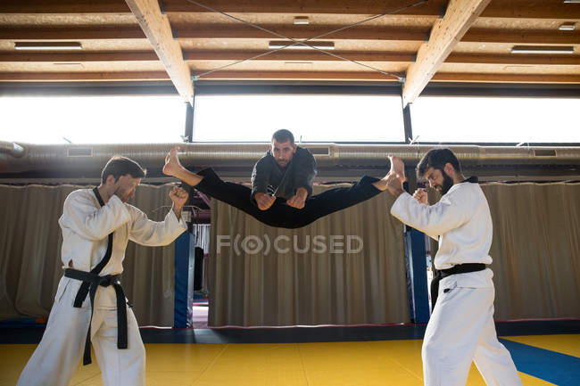 Men standing in hapkido postures and fighting — Stock Photo