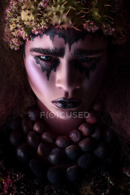 Woman with fantasy crying makeup — Stock Photo