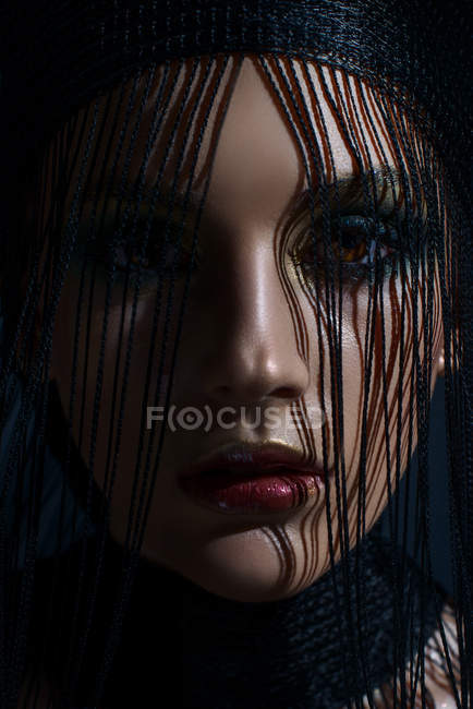 Portrait of woman with fashion makeup and hairstyle — Stock Photo