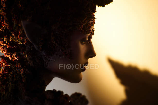 Profile young woman with fantasy makeup art and floral decorations in backlit — Stock Photo