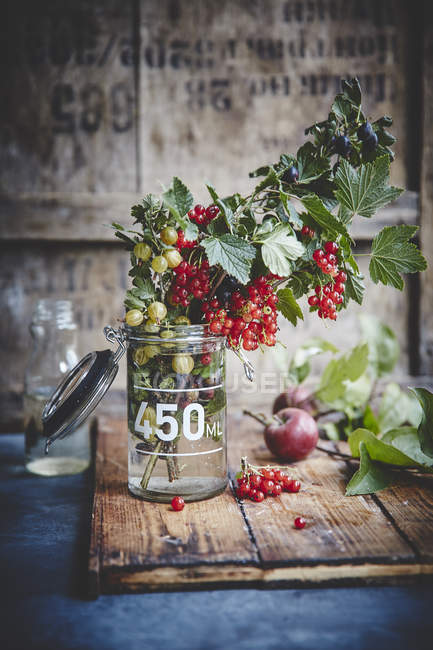 Крыжовник и красной смородины в стеклянной банке — стоковое фото