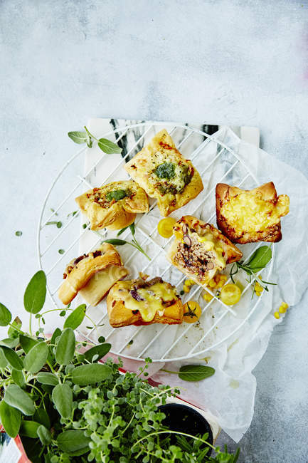 Delicious appetizers and green herbs — Stock Photo