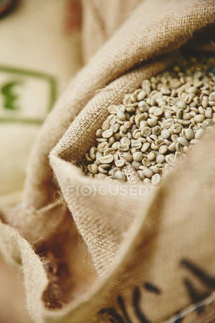 Granos de café verdes en saco - foto de stock